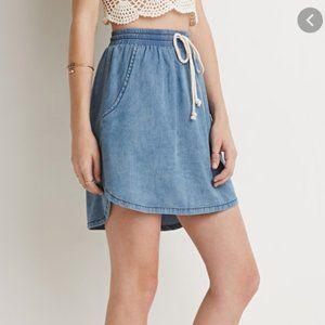 3/$20 Forever 21 Drawstring Chambray skirt